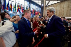 U.S. Secretary of State John Kerry shakes hand with State Department employees on departure, after delivering farewell remarks in the main lobby of the Department's Harry S. Truman Building in Washington, D.C., on January 19, 2017. [State Department photo/ Public Domain]