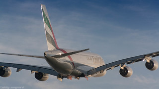 Emirates A380 leaving Amsterdam for Dubai