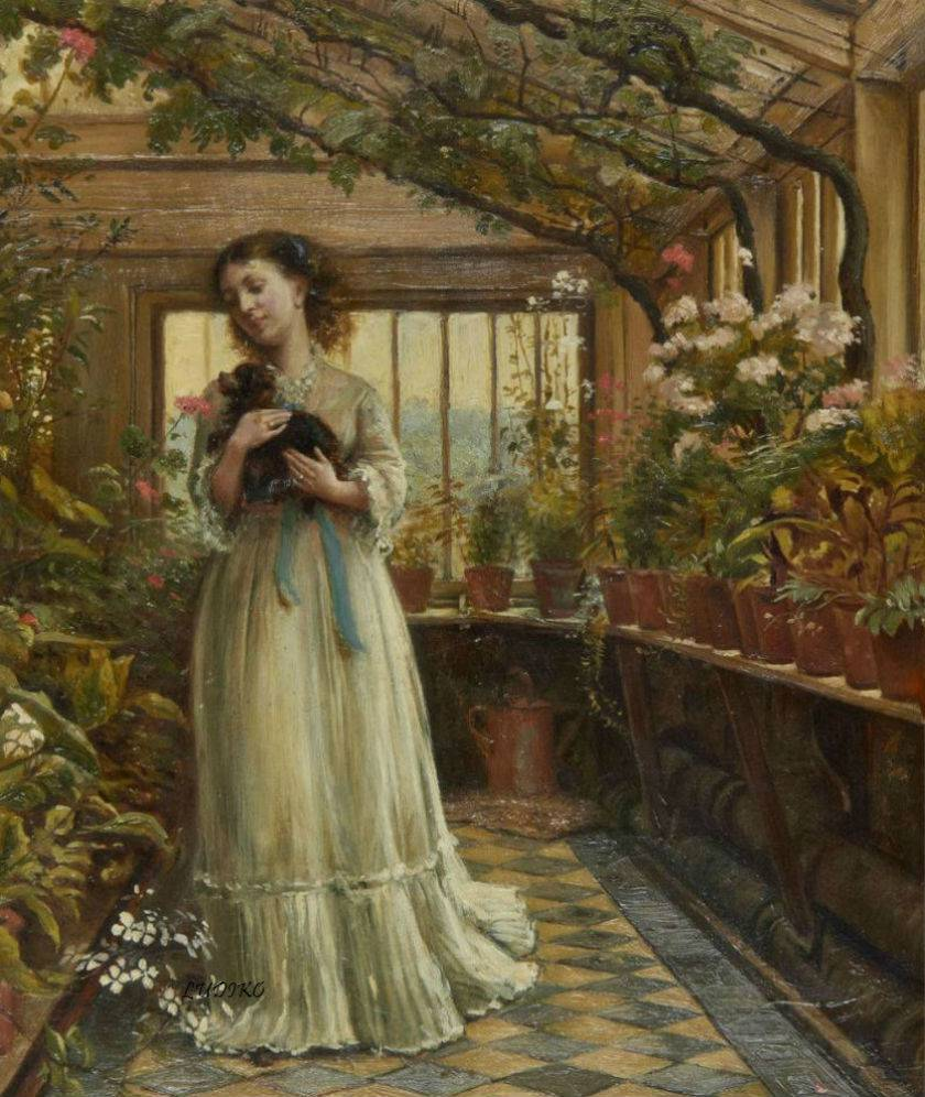 Dora laughing held the dog up childishly to smell the flowers by George Goodwin Kilburne, 1874