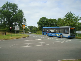 Optare Tempo in Richards Bros TrawsCambria livery leaving Narberth