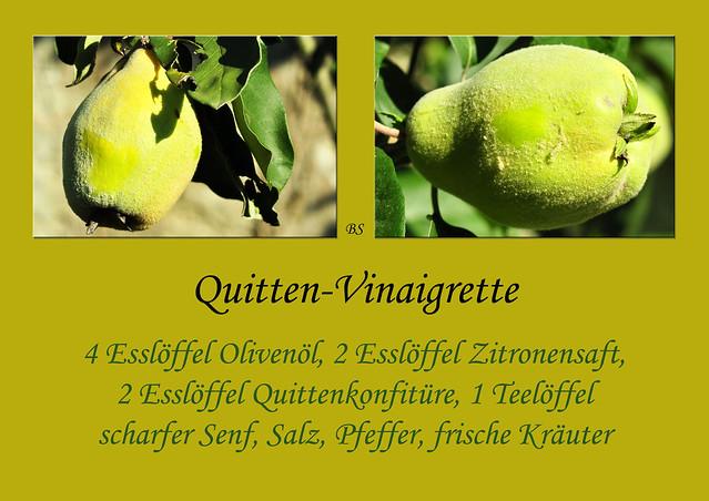 Quitte Quittenbaum Quitten-Vinaigrette bunter Salat Pflücksalat Kirschtomaten Rezept Foto Brigitte Stolle
