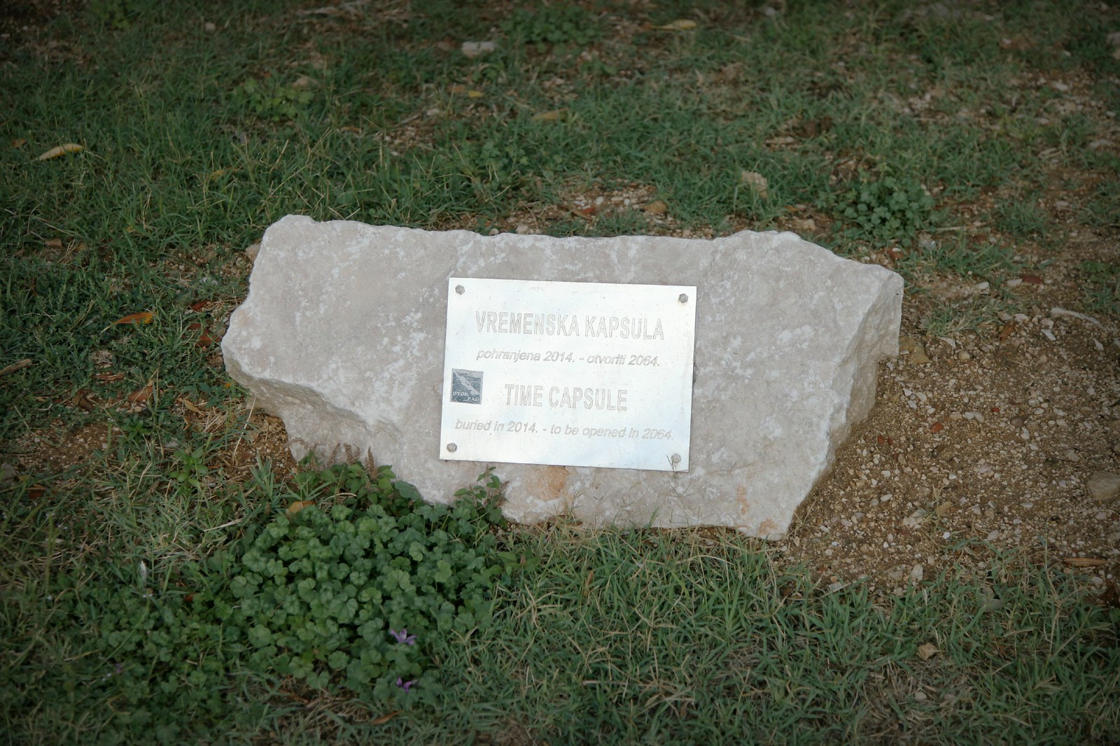 time capsule in pag golija island croatia city town center capital park vremenska kapsula buried in 2014 to be opened in 2064