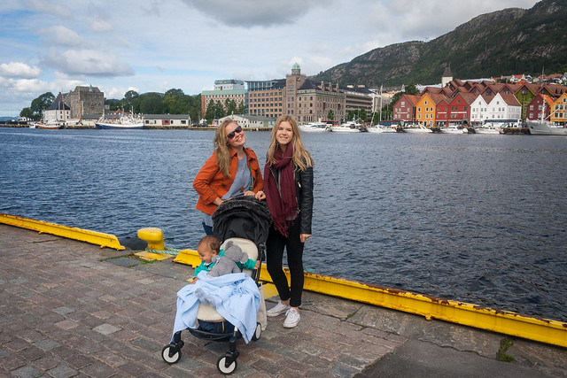 Georgina and I looking out to Bryggen, Bergen