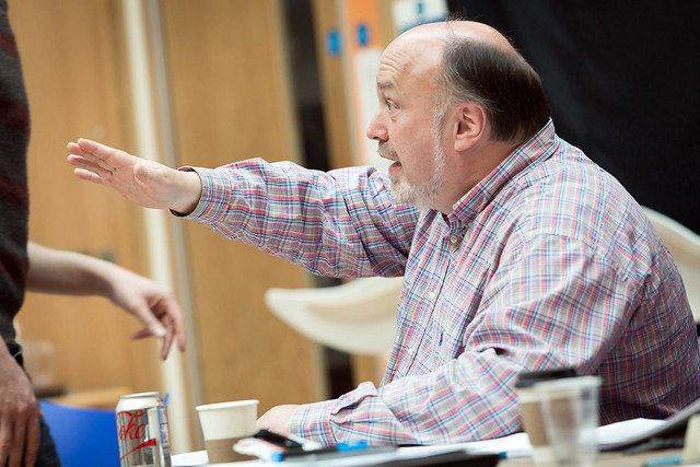 Keith Warner in rehearsal for Orpheus, The Royal Opera and Shakespeare's Globe © 2015 ROH/Shakespeare's Globe. Photograph by Stephen Cummiskey