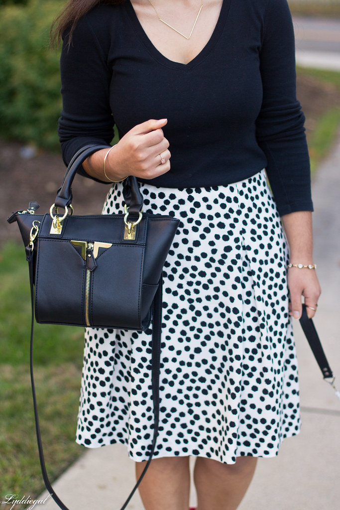 black and white Dalmatian print skirt, black top, red pumps-6.jpg