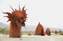 "Desert cantos in Borrego Springs.  ""The late Dennis Avery, land owner of Galleta Meadows Estates in Borrego Springs envisioned the idea of adding 'free standing art' to his property with original steel welded sculptures created by 'Perris Jurassic Park' o"
