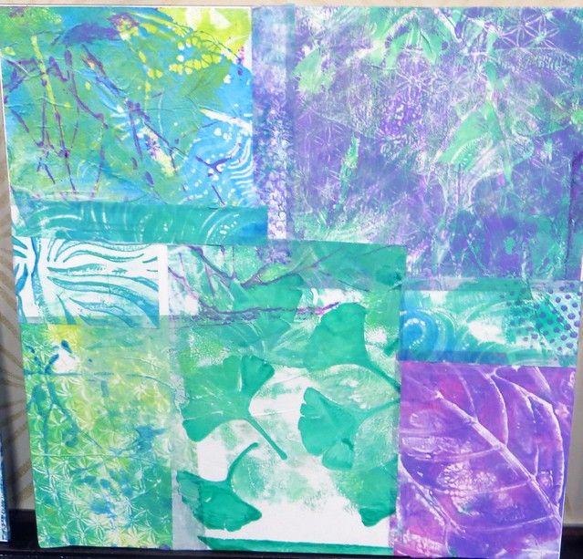 abstract collage with gelli plates