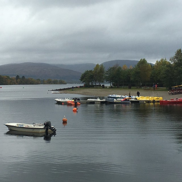 Grey morning at Loch Lomond Shores. At least the boats are colourful.