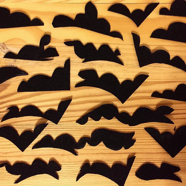 I'm cutting out some Halloween bats for a last minute decoration and the scraps are kinda lovely