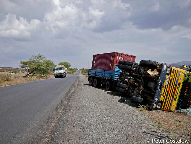 Overturned container truck