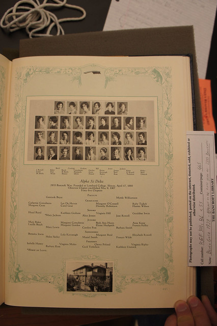 1928 Alpha Xi Delta Blue and Gold yearbook page