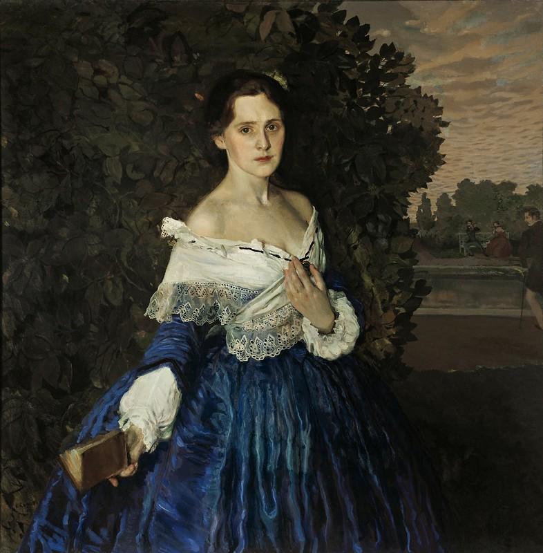 Konstantin Somov - Lady in blue. Portrait of Ye.M. Martynova (c.1898)