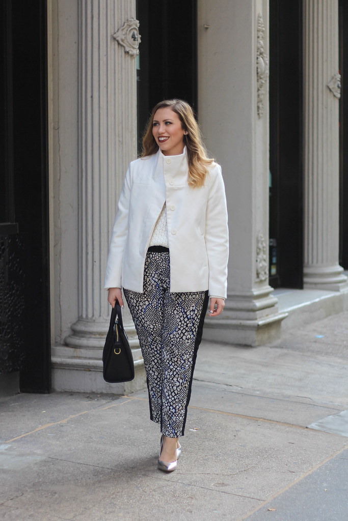 Old Navy Style | Printed Pants | White Chunky Knit Sweater | Funnel Neck Jacket