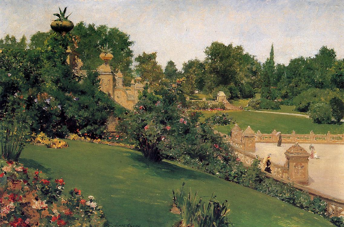 Terrace at the Mall, Cantral Park by William Merritt Chase, 1890