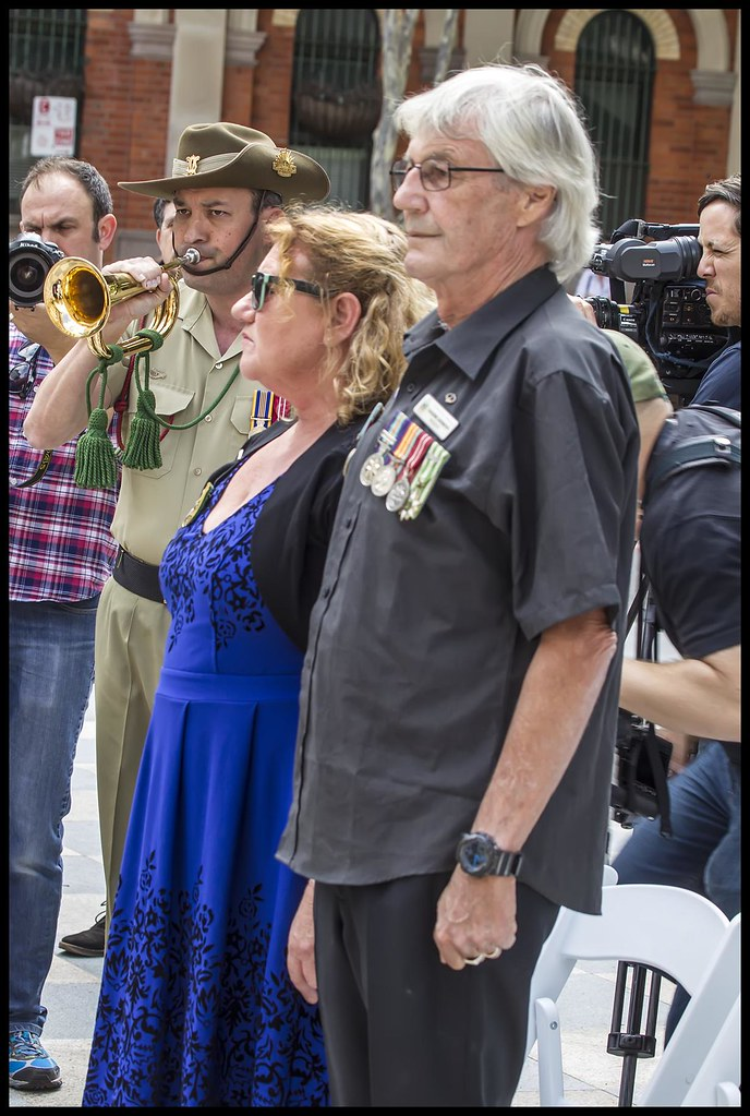 Playing the Last Post at VP Day Brisbane-2=