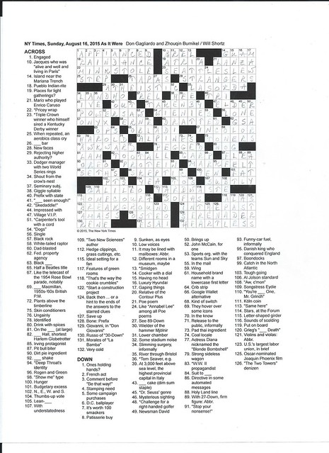 NYT Sunday Puzzle - August 16, 2015