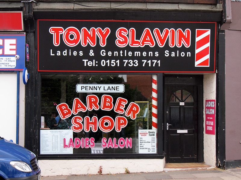 Penny Lane barber shop in Liverpool