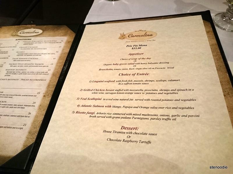 Carmelina prix fixe dinner menu