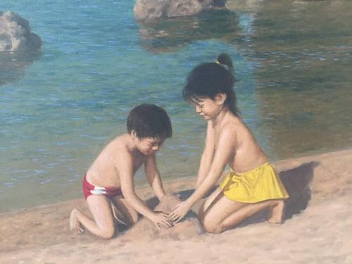 Boy and girl,  painting by Amado Hidalgo