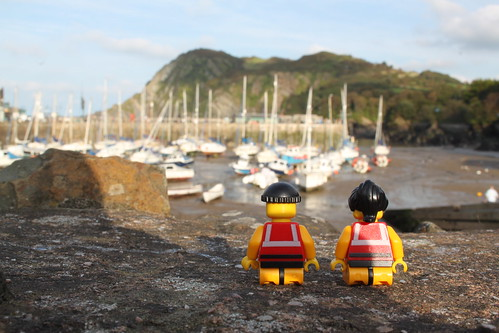 The crew admire the picturesque harbour