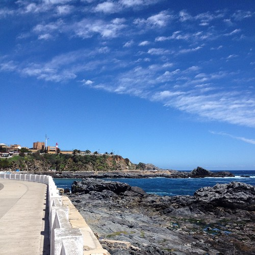 Hermosa tarde de sol y fuerte viento en Playa Ancha
