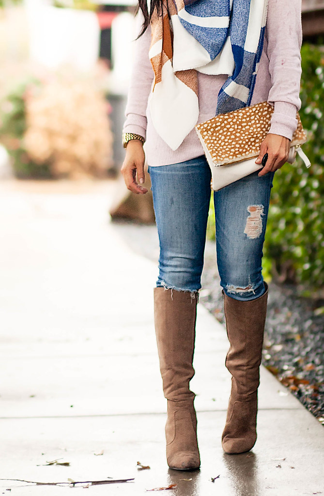 cute & little blog | petite fashion | checkered blanket scarf, pink cowl sweater, ag distressed jeans, taupe suede knee high boots, clare v foldover clutch | fall outfit
