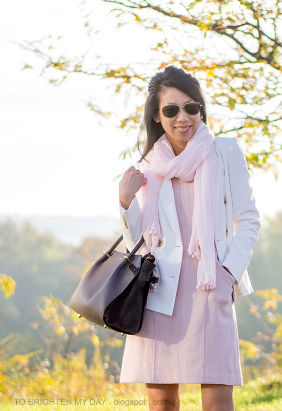 pink scarf, white blazer, pink wool dress