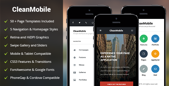 Themeforest CleanMobile – Mobile & Tablet Responsive Template