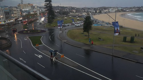 A late afternoon thunderstorm quickly cleared the crowds from Bondi Beach