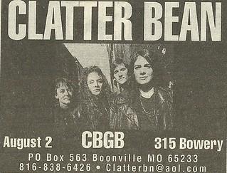 08/02/95 Clatter Bean @ CBGB, NYC, NY