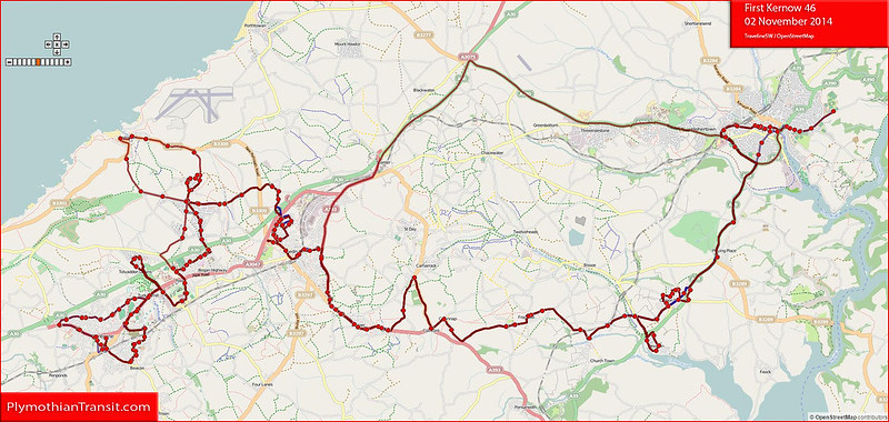 2014 11 02 First Devon & Cornwall route-46 Map.jpg