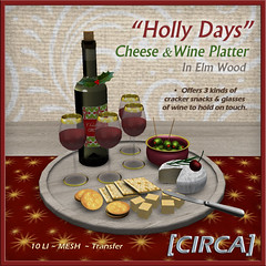 "@ Twisted Krissmuss ~ [CIRCA] - ""Holly Days"" - Cheese & Wine Platter - In Elm Wood"