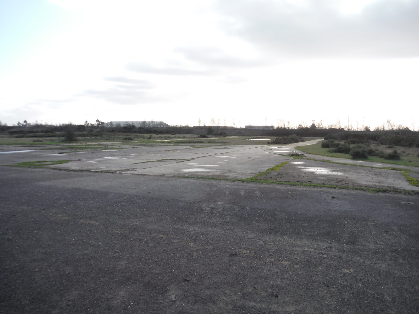 Greenham Common. Ex-Runway crossing Taxiway from Ex-US Air Force Compound SWC Walk 34 Newbury Racecourse to Woolhampton (Midgham Station)