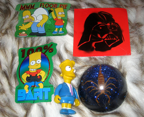20130427 2032 - yardsale booty - Simpsons stickers, Darth Vador sticker, scorpion paperweight - IMG_5109