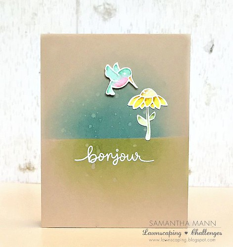 bonjour card (watercolor) - ls, watermark
