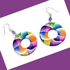 polymer clay Colorblock Hoop Earrings