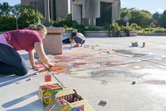 Creating art on the plaza, October 1, 2015