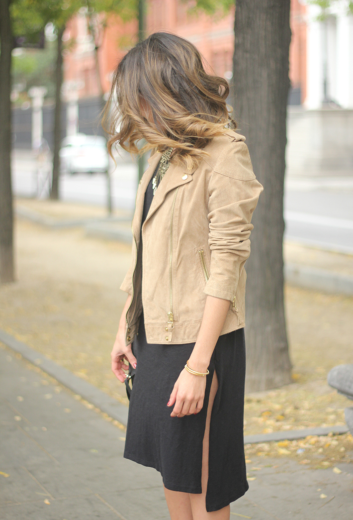 Suede Jacket Black Dress Coach Bag style fall outfit autumn13