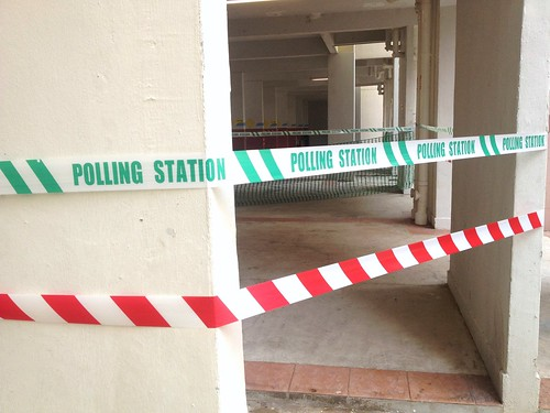 Singapore General Elections: Polling Station tape in void deck