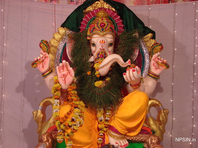 गणेशोत्सव (Ganeshotsav) start with Ganesh Chaturthi, ends after 10 days on Anant Chaturdashi which is also known as Ganesh Visarjan day. Lord Ganesh is worshipped as the God of wisdom, prosperity and good fortune and offer Him sweet dish like  modak.
