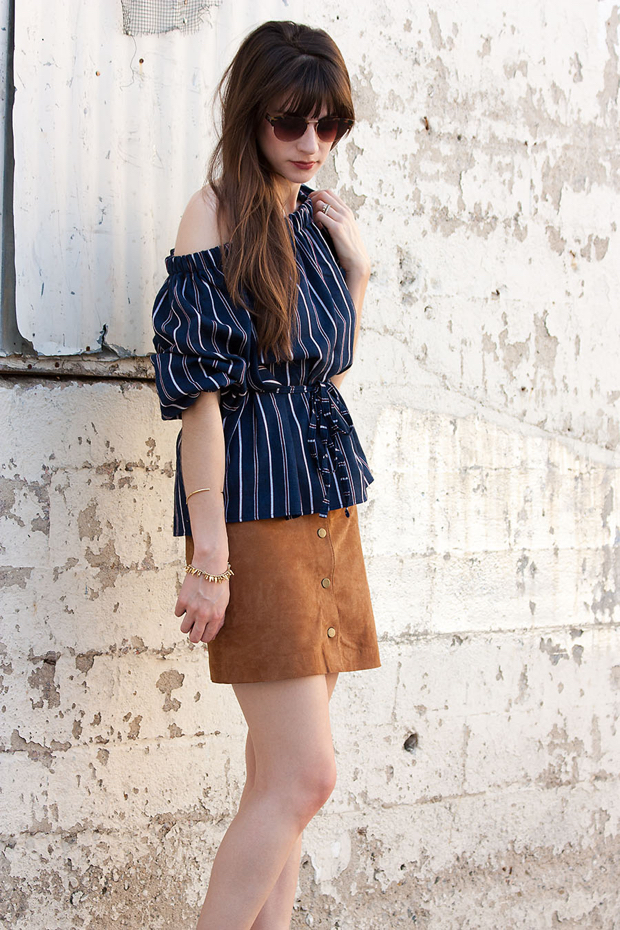 Navy Striped Top, Suede Skirt, Storets Top