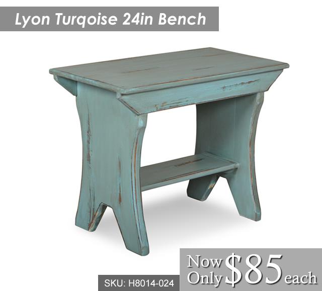 Lyon 24in Turqoise Bench