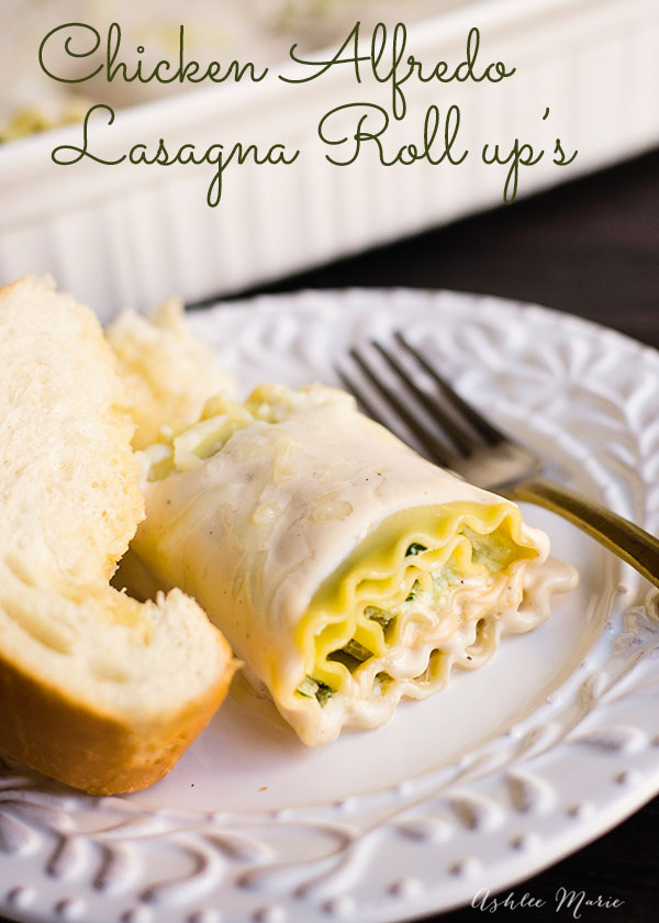These Lasagna Roll ups are filled with three cheeses, rotisserie chicken, spinach, artichoke hearts and covered in alfredo sauce, an easy and delicious dinner everyone in the family loves