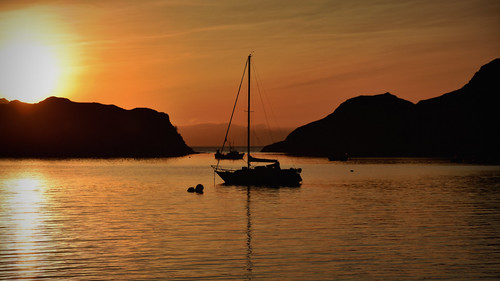 sunset scotland highlands westcoast knoydart sailingboat arnisdale lochhourn harleynikridesagain
