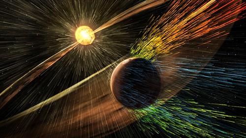 Viento solar impactando en la atmósfera de Marte