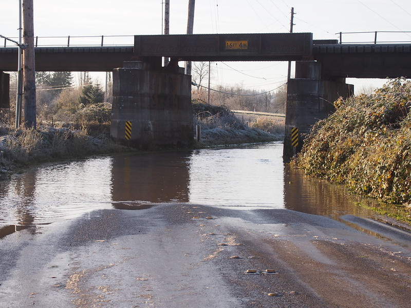 Flooded: Old Snohomish–Monroe Rd: When I got to the lowest point on the road here, I saw some other cyclists trying to use the grassy ridge on the left to get around probably 1-2 feet of water on the road.  All of us decided that US 2 was probably a safer bet.