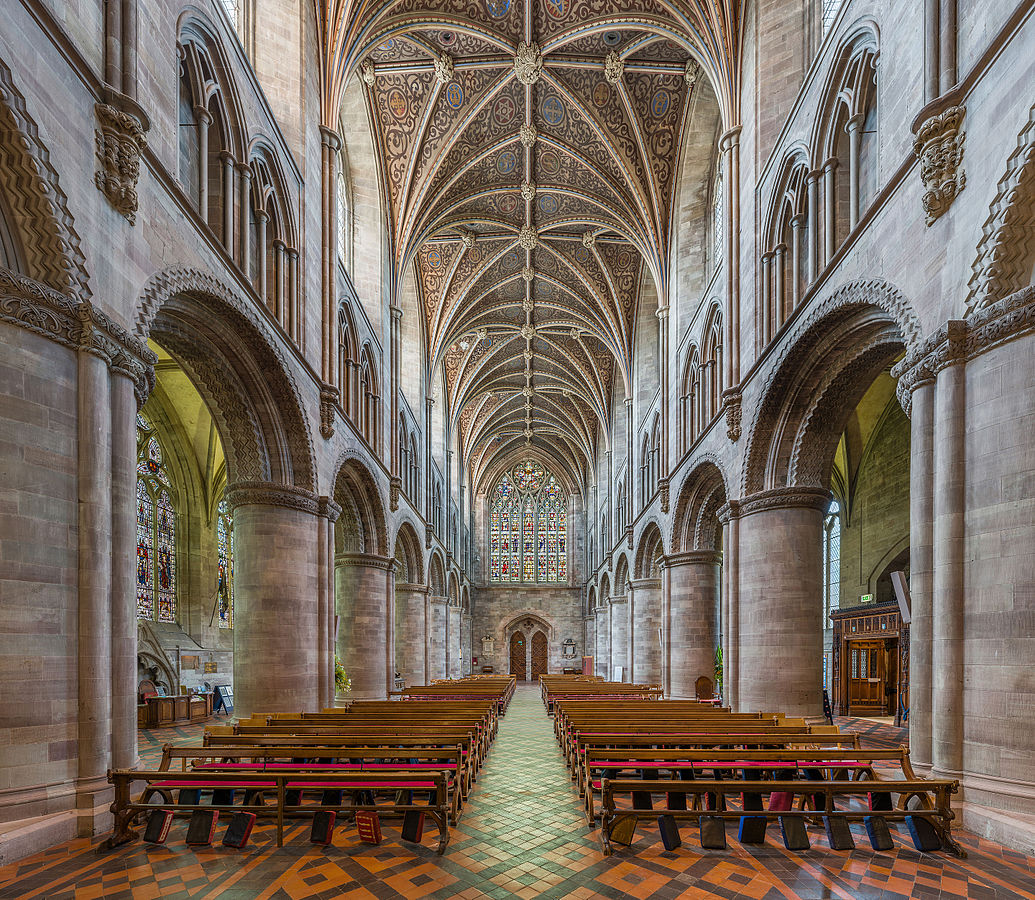 Hereford Cathedral - The nave looking west. Credit: David Iliff