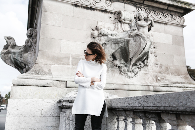 monochrome street style, outfit, inspo, Ellery, Super Creep tunic top, Bassike leather pants, Acne Jensen ankle boots, Givenchy Antigona medium, Céline ombre sunglasses, fashion blog, modern legacy (6 of 13)