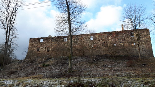 winter castle ruins europe baltic latvia latvija 2015 aizpute hasenpoth