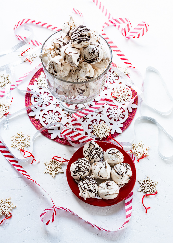 Dark Chocolate Swirled Peppermint Chip Meringue Cookies www.pineappleandcoconut.com #worldmarketribe